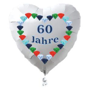 60-Jahre-Diamantene-Hochzeit-weisser-Herz-Luftballon-aus Folie-mit-Ballongas-Helium