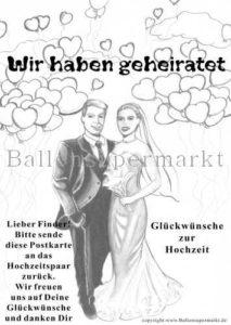 Ballonflugakarte -wir -haben -geheiratet