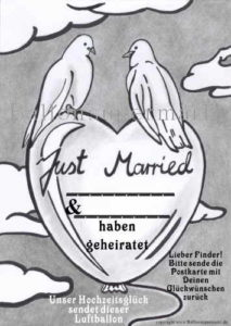 Ballonflugkarte-just -Married- tauben