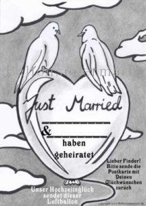 Ballonflugkarte-just -Married- tauben