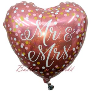 Folienballon-Mr-and-Mrs-Rosegold-holografischer-Herzluftballon-mit-Punkten-zur-Hochzeit-Dekoration-Geschenk-Ballon
