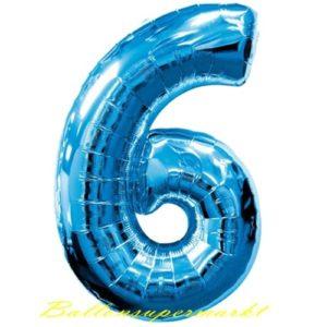 Folienballon-Zahl-6-Blau-Luftballon-Geschenk-Geburtstag-Jubilaeum-Firmenveranstaltung