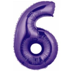 Folienballon-Zahl-6-Lila-Luftballon-Geschenk-Geburtstag-Jubilaeum-Firmenveranstaltung
