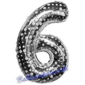 Folienballon-Zahl-6-Silber-mit-Punkten-Luftballon-Geschenk-Geburtstag-Jubilaeum-Firmenveranstaltung