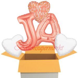 Folienballons-im-Karton-Ja-Mr-and-Mrs-Rosegold-Herz-Buchstaben-J-A-Herzen-weiss-zur-Hochzeit-Dekoration-Hochzeitsgeschenk