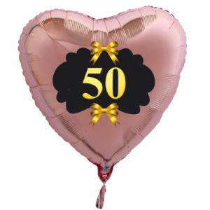 Goldene-Hochzeit-Herzluftballon-aus-Folie-roseegold-zahl-50-und-goldenen-Schleifen-mit-Ballongas-Helium