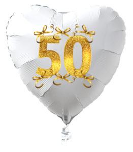Goldene-Hochzeit-Herzluftballon-aus-Folie-weiss-Schleifen-in-Gold-mit-Ballongas-Helium