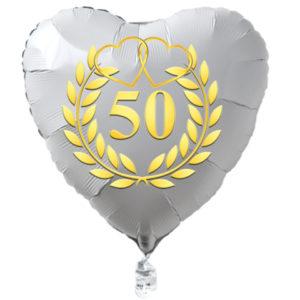 Goldene-Hochzeit-Herzluftballon-aus-Folie-weiss-mit-goldenem-Kranz-und-Herzen-mit-Ballongas-Helium