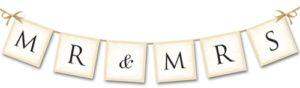 Letterbanner-Mr-and-Mrs-mit Satinschleifen-Hochzeitsbanner-Dekoration-zur-Hochzeit