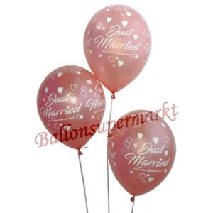 Luftballons-Just-Married-5-Stueck-Rosegold-Dekoration-zur-Hochzeit