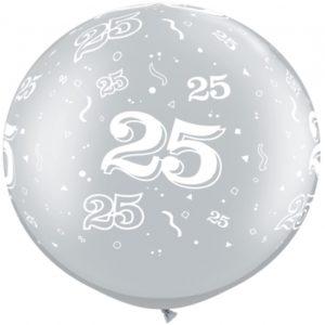 Riesenballon-Jubilaeumszahl-25-silber