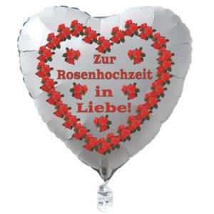 Zur-Rosenhochzeit-in-Liebe-Luftballon-aus-Folie-in-Herzform